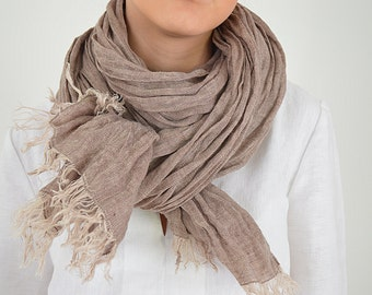 Pure Linen scarf - Cocoa melange linen scarf - Large natural linen scarf - Softened summer scarf - Fringed linen scarf