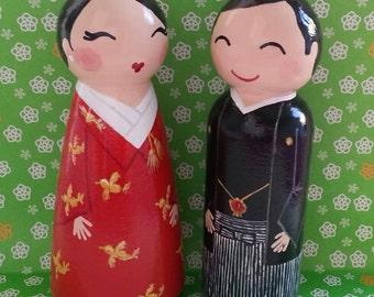 Hand Painted Love Boxes Custom Kokeshi Traditional Japanese Wedding Cake Topper Peg Dolls Wood