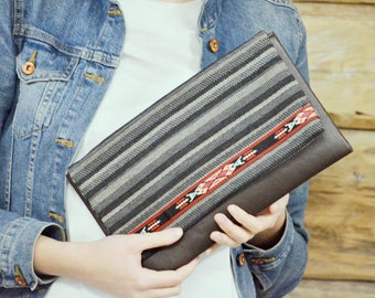 Brown evening purse - Ethnic decorated clutch bag - Eco leather envelope clutch - Striped clutch bag - Vegan purse clutch - Gift for her