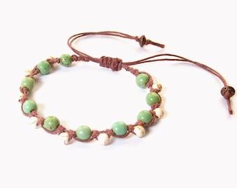Boho Bracelet - green & white magnesite beads, brown hemp - macrame bracelet, hippie bracelet, beach bracelet, tribal bracelet, boho chic