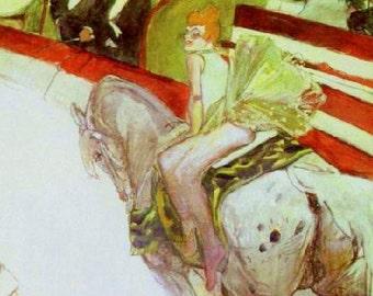 Cirque Fernando:  The Equestrienne by Toulouse-Latrec - an Original, Vintage 1954 Frameable Art Print