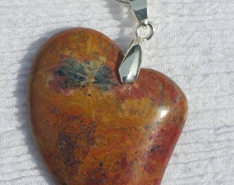 Rainforest Jasper heart shaped pendant on Sterling silver chain.