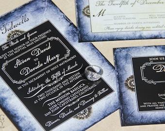 Blue Parchment style wedding invitations. Vintage pearls wedding invitations. Broch wedding invitations.