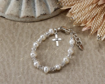 Girls Sterling Silver First Communion or Baptism Bracelet with Freshwater Pearls, Crystals, and Cross (B-004)