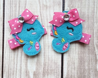 Seahorse Hair Clips, Beach Hair Clips, Summer Hair Clips, Infant Hair Clips, Girls Hair Clips, Ocean Hair Clips, Felt Hair Clip