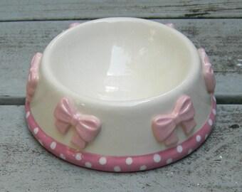 Precious Pink, Whimsical, Pink Bow Ceramic Bowl, Dog Bowl, Cat Bowl, Pet Bowl, Pet Feeder, Posh Pet Bowl, Custom Ceramic Bowl,