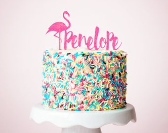 Personalized Flamingo Cake Topper