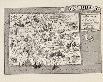 50's COLORADO Picture Map Pictorial State Map Print Black and White Gallery Wall Art Library Office Decor  Birthday Gift for Anniversary