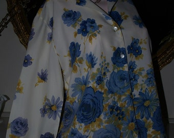 60's Blouse with Blue Flowers by Diane Young