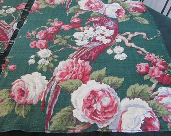 vintage tropical fabric, gorgeous deep greens, pink roses and birds