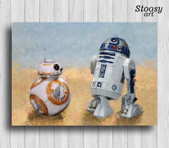 R2D2 and bb8 print star wars nursery decor droid painting star