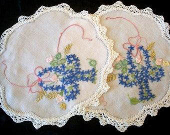 Two Vintage Doilies  Embroidered Blue Cross Stitch Basket & Roses