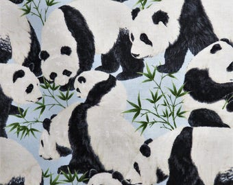 Pandas Nature Wildlife Animals Blue Timeless Treasures Fabric #5273 By the Yard