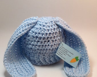 Blue Baby Boy Bunny Hat. Hat with Bunny ears. Easter Gifts for Newborns,Newborn Hats,Baby Hats,Baby Caps