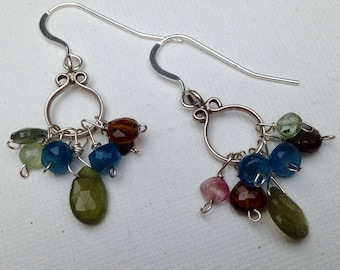 Green and multi-colored gems earrings