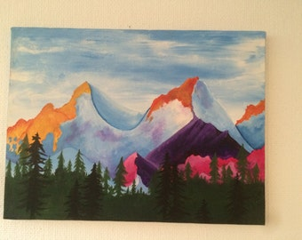 Colorful mountain painting