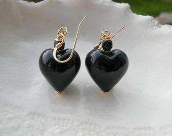 Black Heart Earrings, Venetian Murano Glass Earrings