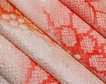 Silk furisode kimono fabric panel - orange and white floral shibori