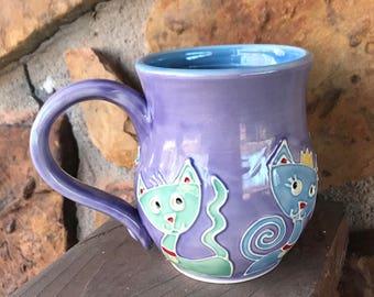 Slip Trailed Purple cat mug wheel thrown pottery