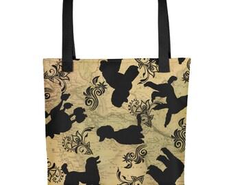 All Over Poodle Dog Poodles & Tattoo Floral on Vintage Map Background Tote Market Book Bag