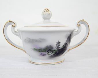 Vintage Sugar Bowl Fukagawa #903, black and purple multi, Asian decor