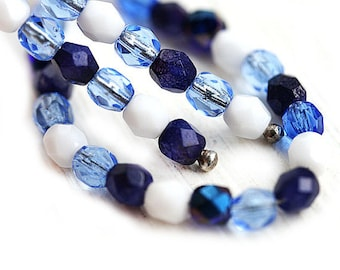 4mm Blue beads mix, czech glass fire polished round spacers, blue glass beads - 50Pc - 1815