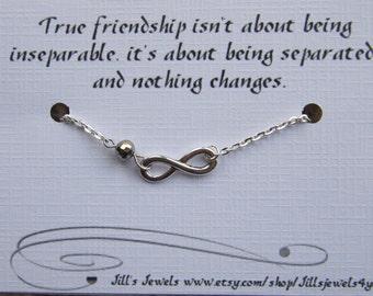 Best friend Friendship Charm Bracelet, Best friend gift, Long Distance Friendship Gift, Infintiy Bracelet, Friends Forever, Graduation Gift