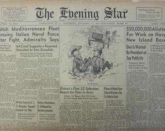 "November 27 1940 The Evening Star ""British Mediterranean Fleet Pursuing Italian Naval Force After Fight, Admiralty Says"""