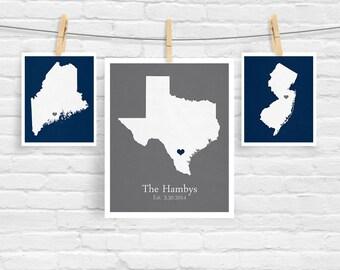 Three States Love - Wedding Trio Set - Personalized City State Heart Date Location Modern Art Print - 8x10 5x7 Souvenir Anniversary
