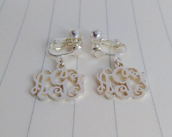 Personalize Clip Earrings,Silver Clip Earrings,Personalized Monogram Earrings,Initial Earrings,initial Monogram Earings,Monogrammed Gifts
