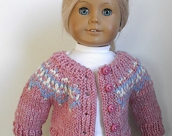 "18"" Doll Clothes Knit Sweater Buttons in Front or Back in Pink, Blue & Cream Fair Isle Design Handmade to Fit American Girl and other Dolls"