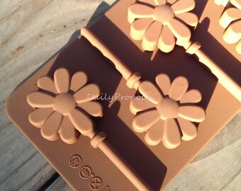 6 Daisy Pop in 1 Silicone Mold Candy Popsicle Ice Cream Jelly Jello Pudding Bakeware Cake Pastry Soap Making Homdmade DIY
