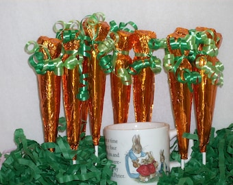 Chocolate Foiled covered Carrot lollipops