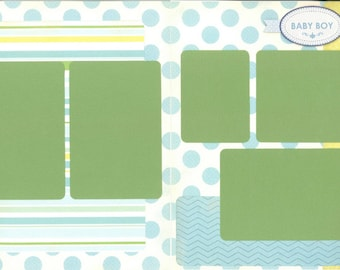 12x12 NEWBORN BOY scrapbook page kit, premade baby boy scrapbook, 12x12 premade page kit, premade scrapbook pages, 12x12 scrapbook layout