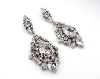 Glam vintage style bridal wedding earrings Swarovski clear fancy marquise multi shape cluster clear crystal rhinestone silver post earrings