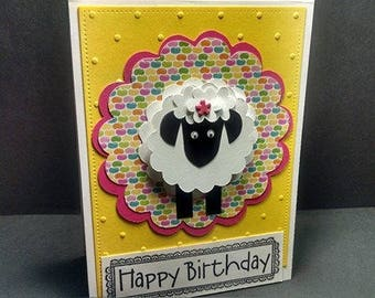 Yellow Embossed Happy Birthday Card with Handmade Sheep ,  Birthday Cards , Handmade Cards