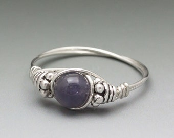 Iolite Bali Sterling Silver Wire Wrapped Bead Ring - Made to Order, Ships Fast!