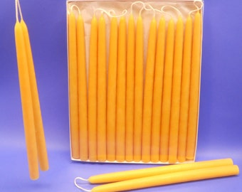 "Beeswax Candles, 25 Pair of 1/2"" x 10"" Hand-Dipped Tapers, Bees Wax Tapers, Box of 50 Beeswax Tapers, Wedding Gift, Home DecorLighting"