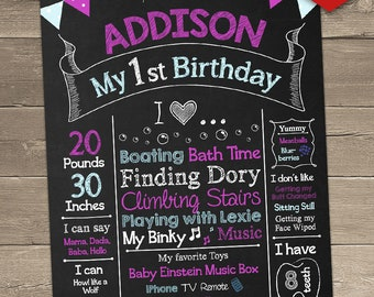 First Birthday Chalkboard Sign, 1st Birthday Chalkboard Sign, Birthday Photo Backdrop, 1st Birthday Centerpiece, First Birthday Centerpiece