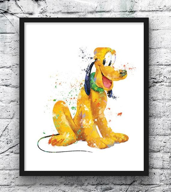 Pluto Watercolor Print Mickey Mouse Disney Art Movie