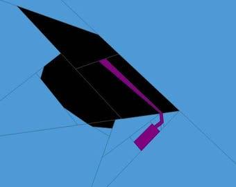 Graduation Cap Paper Piecing Pattern 12x12 Quilt Block