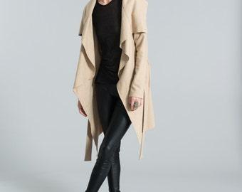 Beige Jacket / Spring Jacket / Trench Coat / High Collar Jacket / Asymmetrical Wool Jacket / Trench / Marcellamoda - MC0017