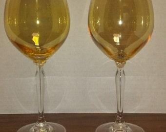 Vintage Amber Opalescent Bowl Wine Goblets/Glasses, Set of Two, Glassware, Barware, Stemware
