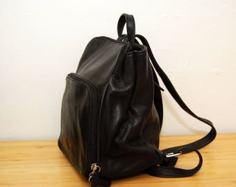 LEATHER MINI BACKPACK vintage black 90s retro women hipster indie soft grunge nu goth gothic club kid rave raver art hoe aesthetic clothing