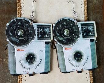 Vintage Camera Earrings handmade ooak laser cut wood stainless earwires photophile photographer flash vintage photo image photography