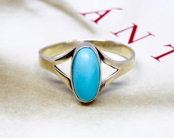 Antique 1910s Turquoise Ring, Victorian Turquoise Yellow Gold Ring, Art Nouveau Promise Ring, Anniversary Ring, Alternative Engagement Ring