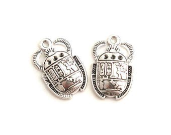 2 charms Egyptian scarab silver-plated 25x16mm