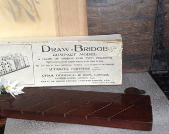 Vintage Draw-Bridge Automatic Partners /bridge for two/ card holders/ card games