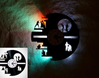 Star Wars death star, Vinyl wall clock, Star wars gift ideas, Star Wars decor, Star Wars wall art, LED lights, kids clock, lp clock
