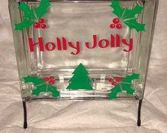 Glass block holly jolly